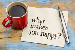 What makes you happy question on napkin Royalty Free Stock Photos