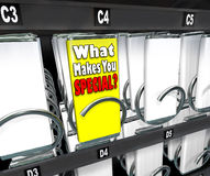 What Makes You Special Unique Choice Snack Machine. One candy bar stands out as different or unique in a snack vending machine, with the label What Makes You Royalty Free Stock Images