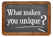 What makes you unique question. On a vintage blackboard isolated on white Royalty Free Stock Photography