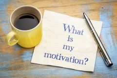 What is my motivation?. What is my motivation question - handwriting on a napkin with a cup of espresso coffee stock photography