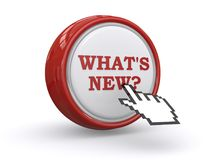 What is new button. Red and white 3D button with text graphics what's new and question mark with computer hand icon on white Stock Image