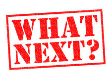 WHAT NEXT?. Red Rubber Stamp over a white background Stock Photography