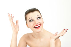 What a nice surprise. A woman with an expression of excitement and surprise on her face Royalty Free Stock Photos