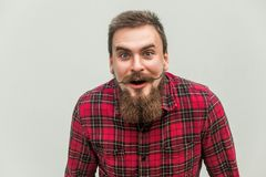 What!? No way! Surprised young adult man with opened mouth and big eyes Royalty Free Stock Photography