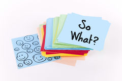 So what. Note with smileys Royalty Free Stock Photography