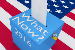 What Now? concept. 3D illustration of What Now?, 2016 scripts and on ballot box, with US flag as a background Stock Image