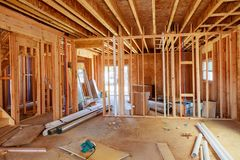 What is now a construction site will soon be someone& x27;s home. Wood Building frame royalty free stock photography