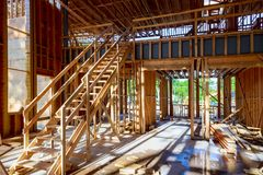 What is now a construction site will soon be someone's home. Wood Building frame royalty free stock image