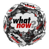 What Now Question in Speech Clouds Bubbles stock illustration