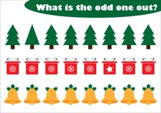 What is the odd one out for children, christmas theme in cartoon style, fun education game for kids, preschool worksheet activity royalty free illustration