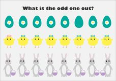 What is the odd one out for children, easter bunny, chick in cartoon style, fun education game for kids, preschool worksheet
