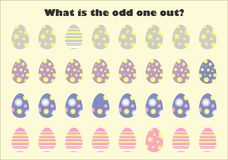 What is the odd one out for children, easter eggs in cartoon style, fun education game for kids, preschool worksheet activity, stock illustration