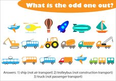 What is the odd one out for children, transport in cartoon style, fun education game for kids, preschool worksheet activity, task stock illustration