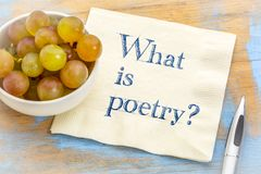 What is poetry? A question on napkin. Stock Photos