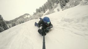 What Is Powdersurfing. FullHD slow motion video by action camera GoPro stock footage
