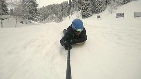 What Is Powdersurfing. FullHD slow motion video by action camera GoPro stock video