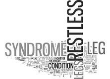 What Is Restless Leg Syndrome Word Cloud. WHAT IS RESTLESS LEG SYNDROME TEXT WORD CLOUD CONCEPT Stock Photos