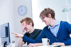 What a ridicule thing it's happening on the screen? Royalty Free Stock Photos