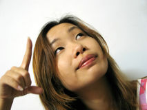 What's That!?. An asian girl pointing up stock photos