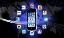 What's apps are on your mobile network today?. Apps are a must for all mobile phones and are available from the Apple Apps Store and other various popular media Royalty Free Stock Image