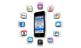 What's apps are on your mobile network today?. Apps are a must for all mobile phones and are available from the Apple Apps Store and other various popular media Stock Photo