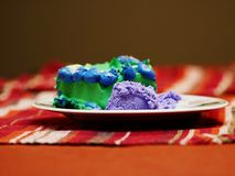 Cake and ice cream on a plate royalty free stock images