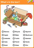 What´s in the wardrobe? Draw a circle around each thing.What´s in the box? Find the objects. - Worksheet for education. What´s in the box? Find the stock illustration