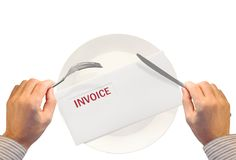 What's for dinner?. Invoice on dinner plate. Debt / low income concept stock image