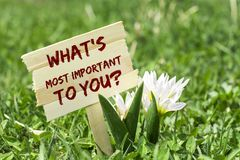 What`s most important to you. On wooden sign in garden with spring flower royalty free stock image