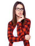 What's my next step?. Young girl with glasses in search of ideas Royalty Free Stock Photo