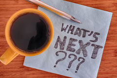 What`s next? Handwriting on a napkin Royalty Free Stock Photo
