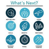 What`s Next Icon Set. With Big Idea, Mentoring, Decision Making, and Forward Thinking etc Icons Stock Photography