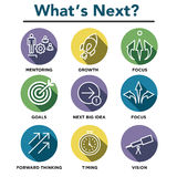 What`s Next Icon Set. With Big Idea, Mentoring, Decision Making, and Forward Thinking etc Icons Royalty Free Stock Image