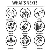 What`s Next Icon Set with Big Idea, Mentoring, Decision Making,. And Forward Thinking etc Icons Stock Photo