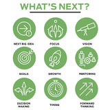 What`s Next Icon Set with Big Idea, Mentoring, Decision Making,. And Forward Thinking etc Icons vector illustration