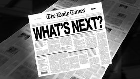 What's Next? - Newspaper Headline stock footage