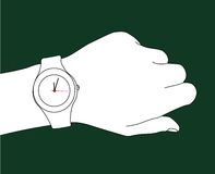 What's the time?. Design of a watch and a hand Stock Photography