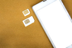 What's type of sim card can use on your mobile Stock Image