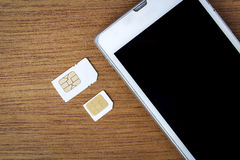 What's type of sim card can use on your mobile Royalty Free Stock Photos