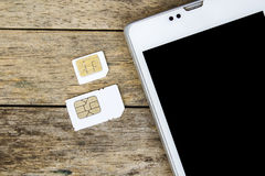What's type of sim card can use on your mobile, smart phone Royalty Free Stock Photo
