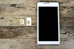 What's type of sim card can use on your mobile, smart phone Stock Photography