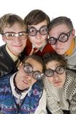 What's up Dock?. Five nerdy guys in funny glasses, smiling and looking at camera. Front view, white background Stock Image