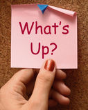 What's Up Note Means What Is Going On Royalty Free Stock Photo