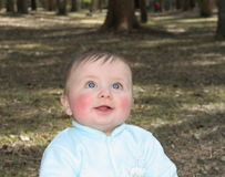 What's up there?. Baby boy with blue eyes looking up Stock Photo