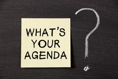 What's Your Agenda ? Stock Image