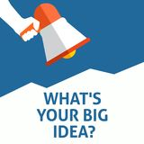WHAT`S YOUR BIG IDEA? Announcement. Hand Holding Megaphone With Speech Bubble royalty free illustration
