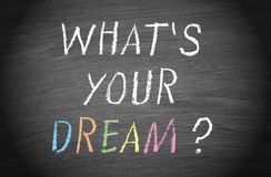 Whats your dream. What's your dream? written on blackboard of chalkboard, personal aspiration concept royalty free stock photo