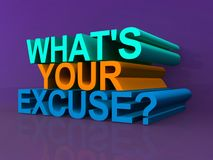 What's your excuse. 3D letters spelling what's your excuse with a question mark on purple background Stock Image
