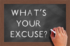 What s Your Excuse Text on Blackboard. Handwritten chalk text What's Your Excuse on the blackboard Royalty Free Stock Photos