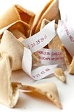 What's your fortune?. Broken fortune cookies with paper fortunes Stock Image
